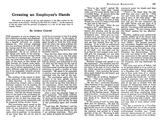 Article Preview: Greasing an Employee's Hands, July 1913 | Maclean's