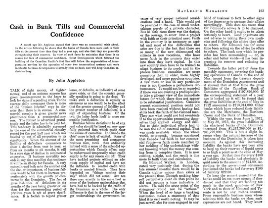 Article Preview: Cash in Bank Tills and Commercial Confidence, August 1913 | Maclean's