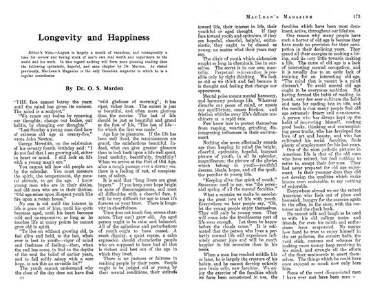 Article Preview: Longevity and Happiness, August 1913 | Maclean's