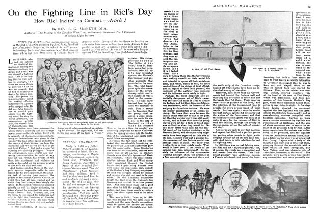 Article Preview: On the Fighting Line in Riel's Day, July 1914 | Maclean's