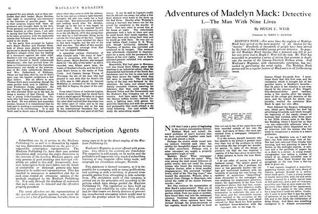 Article Preview: Adventures of Madelyn Mack: Detective, July 1914 | Maclean's