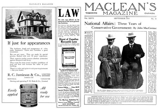 Article Preview: National Affairs: Three Years of Conservative Government, September 1914 | Maclean's