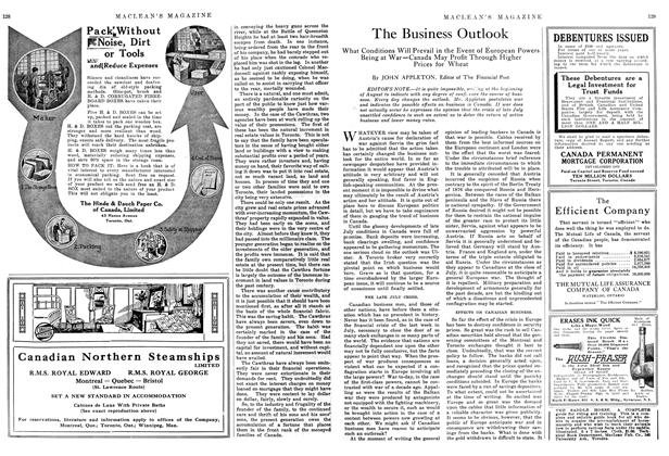 Article Preview: The Business Outlook, September 1914 | Maclean's