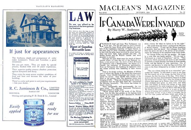 Article Preview: IF CANADA WERE INVADED, October 1914 | Maclean's