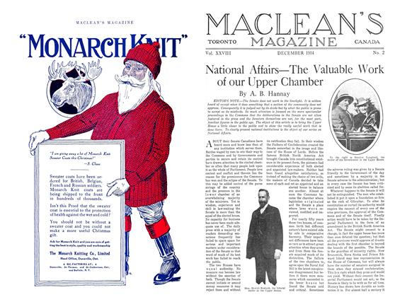 Article Preview: National Affairs—The Valuable Work of our Upper Chamber, December 1914 | Maclean's