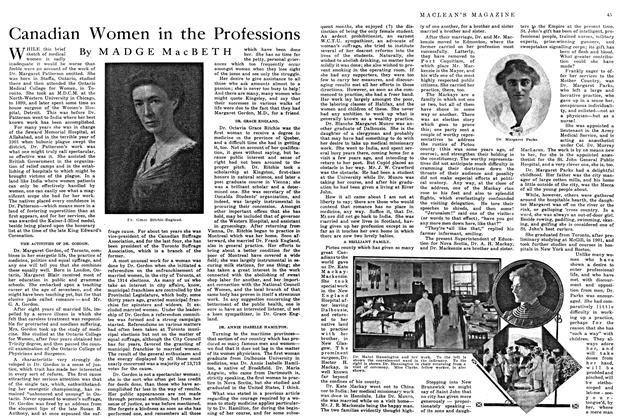 Article Preview: Canadian Women in the Professions, May 1915 | Maclean's