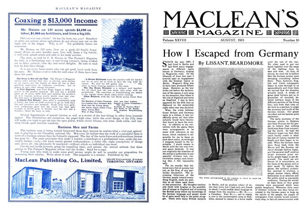 Article Preview: How I Escaped from Germany, August 1915 | Maclean's