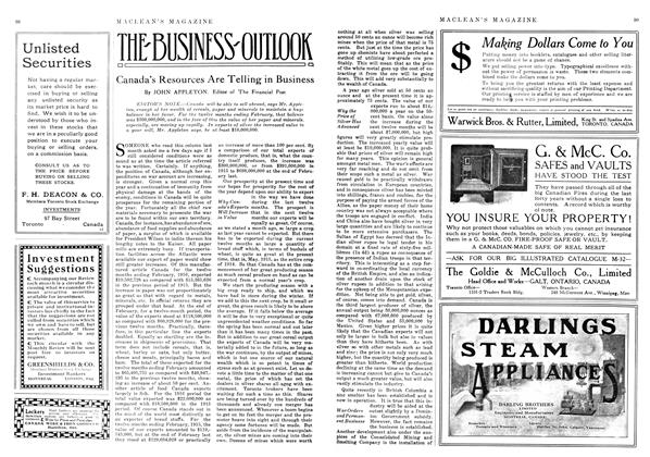 Article Preview: Canada's Resources Are Telling in Business, June 1916 | Maclean's
