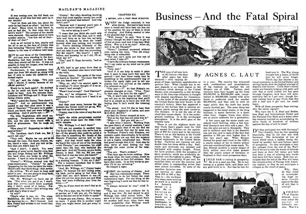 Article Preview: Business—And the Fatal Spiral, August 1916 | Maclean's