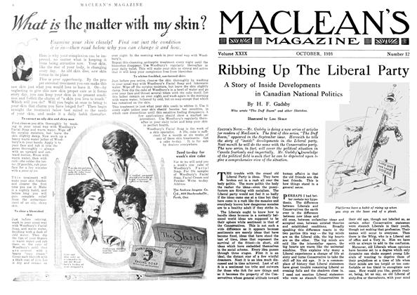 Article Preview: Ribbing Up The Liberal Party, October 1916 | Maclean's