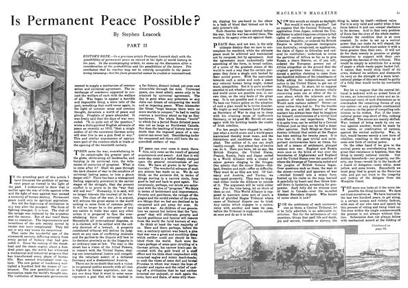 Article Preview: Is Permanent Peace Possible?, October 1916 | Maclean's