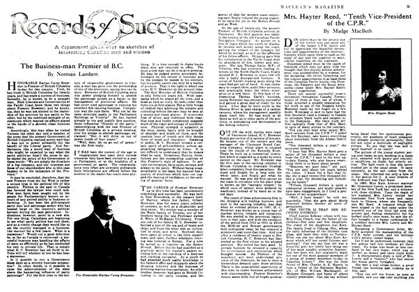 "Article Preview: Mrs. Hayter Reed, ""Tenth Vice-President of the C.P.R."", March 1917 
