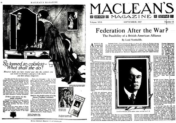 Article Preview: Federation After the War?, September 1917 | Maclean's
