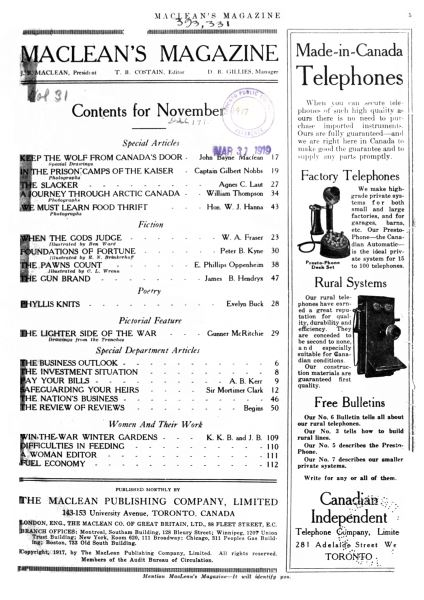 Issue: - November 1917 | Maclean's