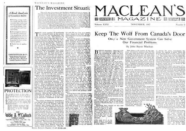 Article Preview: Keep The Wolf From Canada's Door, November 1917 | Maclean's