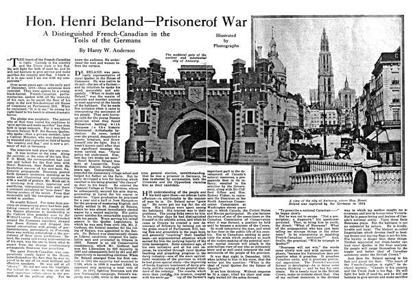 Article Preview: Hon. Henri Beland—Prisoner of War, February 1918 | Maclean's