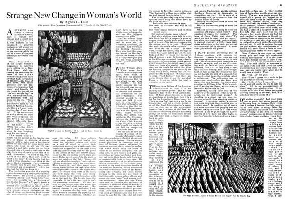 Article Preview: Strange New Change in Woman's World, October 1918 | Maclean's