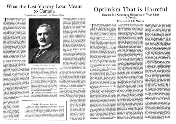 Article Preview: Optimism That is Harmful, October 1918 | Maclean's