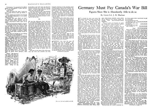 Article Preview: Germany Must Pay Canada's War Bill, November 1918 | Maclean's