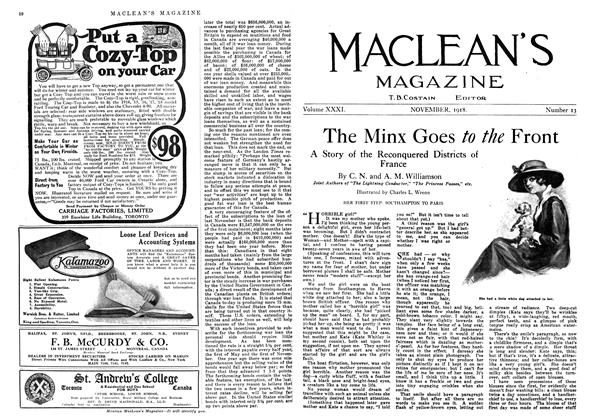 Article Preview: The Minx Goes to the Front, November 1918 | Maclean's