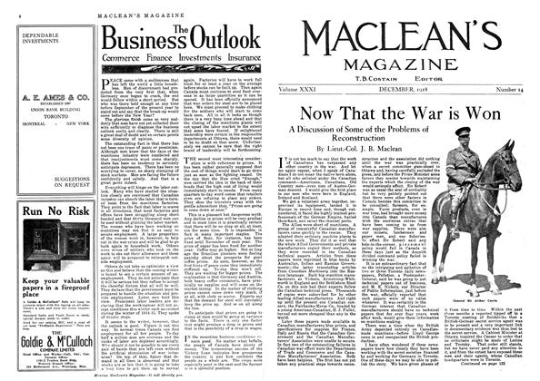 Article Preview: Now That the War is Won, December 1918 | Maclean's