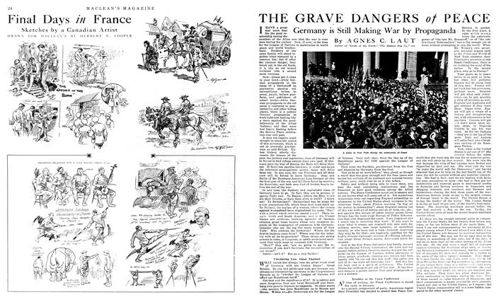 Article Preview: THE GRAVE DANGERS of PEACE, January 1919 | Maclean's