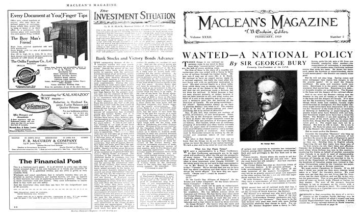 Article Preview: WANTED—A NATIONAL POLICY, February 1919 | Maclean's