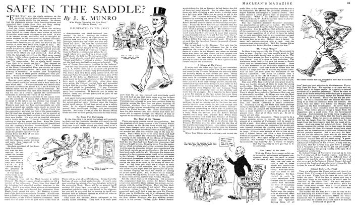 Article Preview: SAFE IN THE SADDLE?, May 1919 | Maclean's