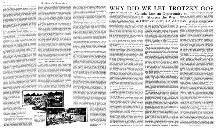 Article Preview: WHY DID WE LET TROTZKY GO?, June 1919 | Maclean's