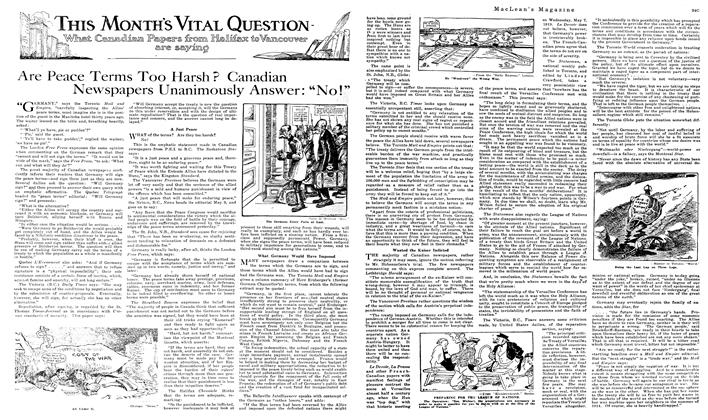 "Article Preview: Are Peace Terms Too Harsh? Canadian Newspapers Unanimously Answer: ""No!"", June 1919 