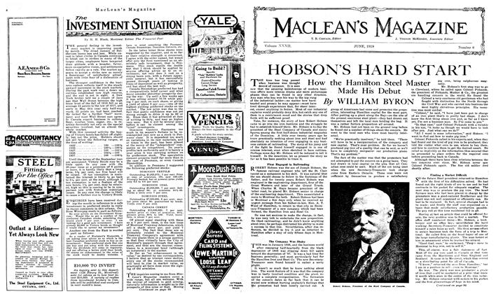 Article Preview: HOBSON S HARD START, June 1919 | Maclean's