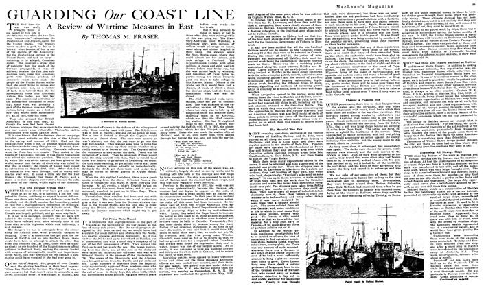 Article Preview: GUARDING Our COAST LINE, July 1919 | Maclean's