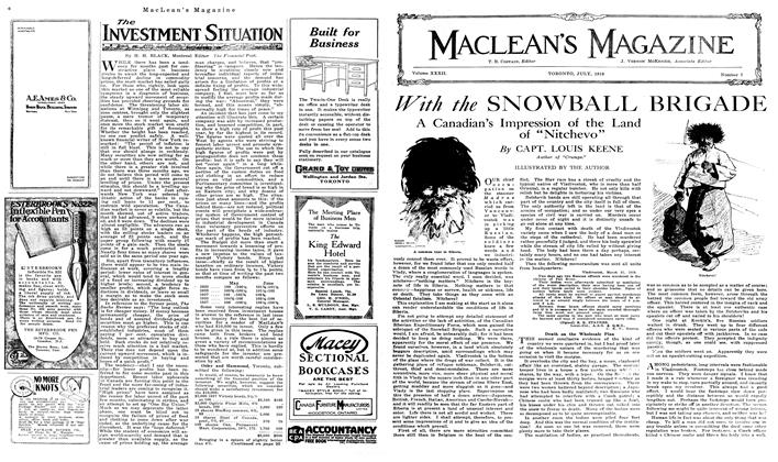 Article Preview: The INVESTMENT SITUATION, July 1919 | Maclean's