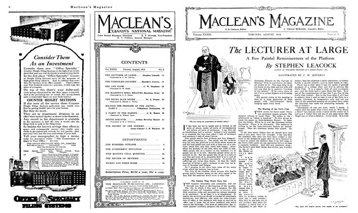 Article Preview: The LECTURER AT LARGE, August 1919 | Maclean's