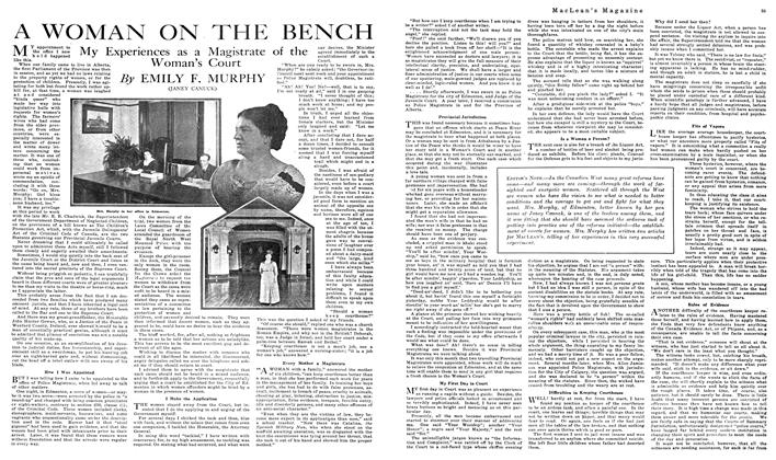 Article Preview: A WOMAN ON THE BENCH, NOVEMBER 01,1919 1919 | Maclean's
