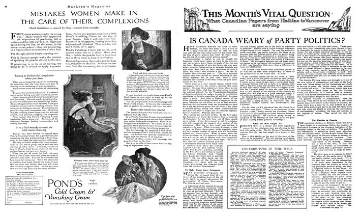 Article Preview: IS CANADA WEARY of PARTY POLITICS ?, NOVEMBER 01,1919 1919 | Maclean's