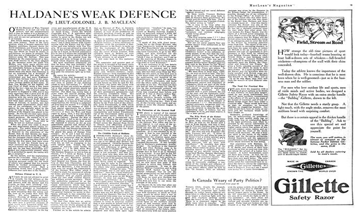 Article Preview: HALDANE'S WEAK DEFENCE, NOVEMBER 01,1919 1919 | Maclean's