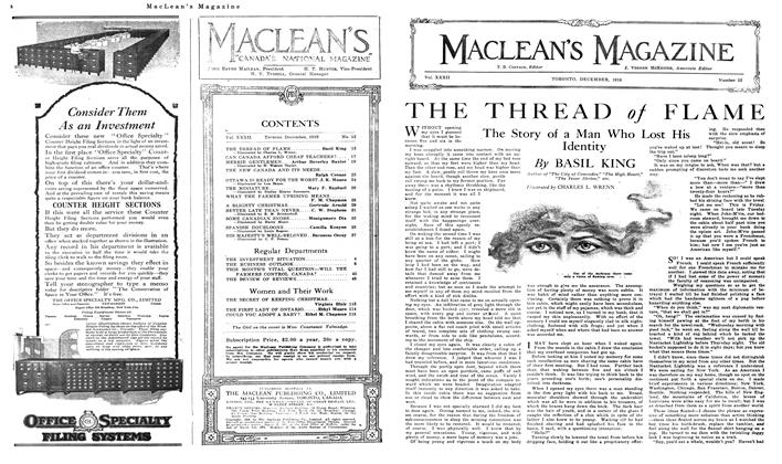 Article Preview: THE THREAD of FLAME, December 1919 | Maclean's