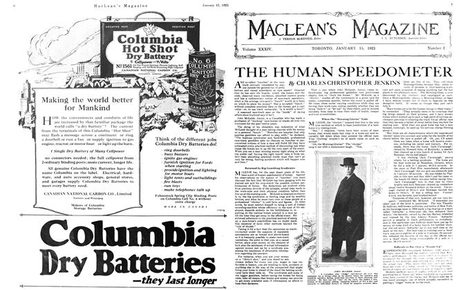 Article Preview: THE HUMAN SPEEDOMETER, January 15th, 1921 1921 | Maclean's