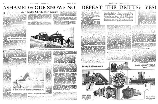 Article Preview: ASHAMED of OUR SNOW? NO! DEFEAT THE DRIFTS? YES!, FEBRUARY 15TH 1921 | Maclean's