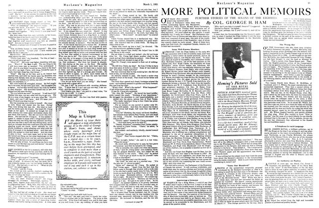 Article Preview: MORE POLITICAL MEMOIRS, March 1921 | Maclean's