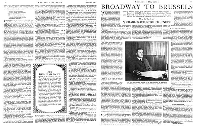 Article Preview: BROADWAY TO BRUSSELS, March 1921 | Maclean's