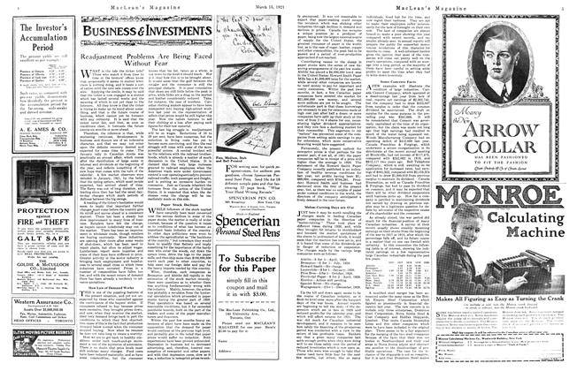 Article Preview: Readjustment Problems Are Being Faced Without Fear, March 1921 | Maclean's