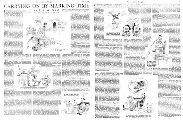 Article Preview: CARRYING ON BY MARKING TIME, APRIL 1st, 1921 1921 | Maclean's