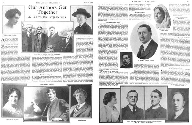 Article Preview: Our Authors Get Together, April 1921 | Maclean's
