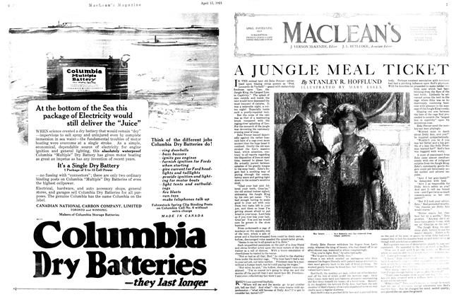 Article Preview: A JUNGLE MEAL TICKET, April 1921 | Maclean's