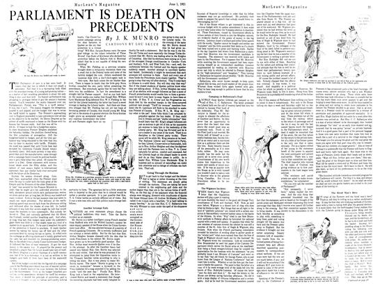 Article Preview: PARLIAMENT IS DEATH ON PRECEDENTS, JUNE 1st, 1921 1921 | Maclean's