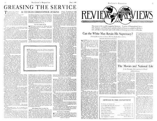 Article Preview: GREASING THE SERVICE, JUNE 1st, 1921 1921 | Maclean's