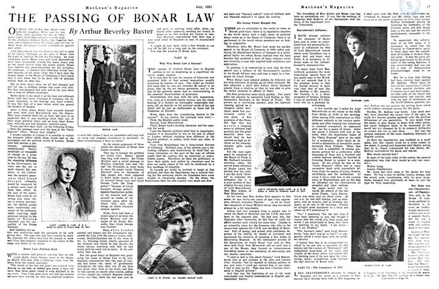 Article Preview: THE PASSING OF BONAR LAW, July 1921 | Maclean's