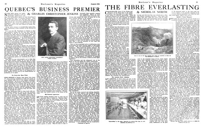 Article Preview: QUEBEC'S BUSINESS PREMIER, August 1921 | Maclean's